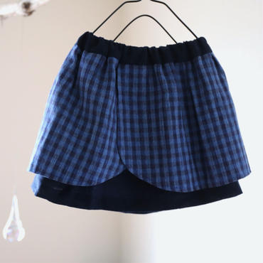 あじさいスカート     濃藍×藍染リネン80/110