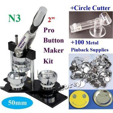 ◆送料無料◆ 缶バッジマシーン 50mm 調節可能なサークルカッター バッジ100個付き 業務用