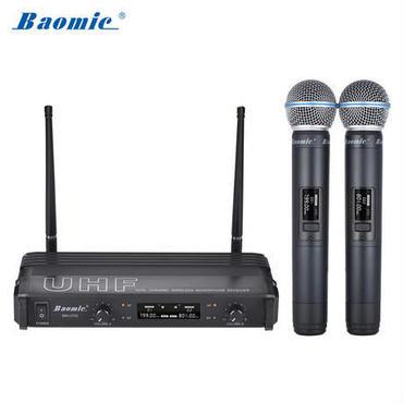 Baomic プロフェッショナルデュアルチャンネル UHFデジタルワイヤレスマイクシステム