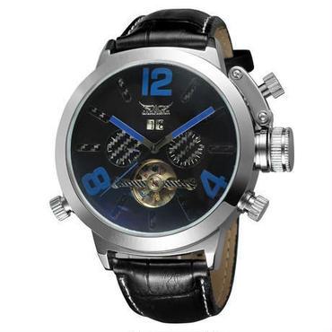 メンズ腕時計 スケルトン レーシングスポーツ ミリタリー 機械式腕時計 メカニカル レザーバンド