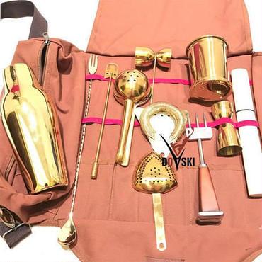 Doski 高級バー用品 12点セット 携帯用バーテンダーキット バッグつき ケータリング ホームパーティー アウトドア ゴールドカラー カクテルシェーカー ミキシングスプーン ダブルジガー プロ用