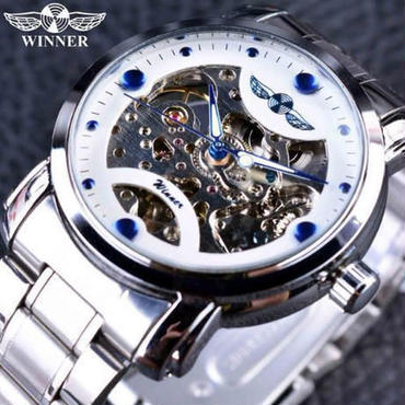 【送料無料】T-WINNER レトロカジュアル スケルトン メンズ腕時計 海外トップブランド 高級機械式時計(ホワイトブルー)