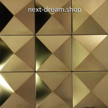 3D壁紙 30×30cm 11枚セット 金属タイル 金 ピラミッド型 DIY リフォーム インテリア 部屋/キッチン/トイレにも h04413