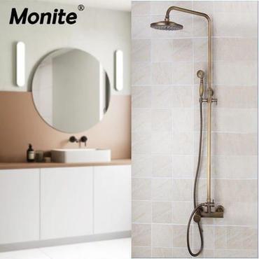 アンティーク調 真鍮 バスルーム用シャワーヘッドシステム 蛇口 ハンドシャワーセット 海外で大人気 映画のようなモダンなバスルームに