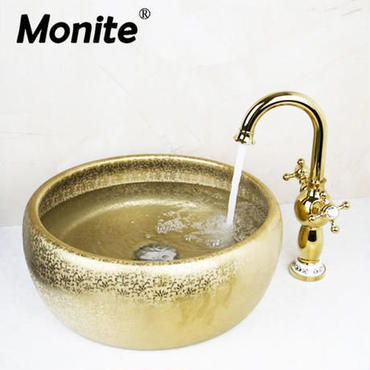 Monite シンクボウル ゴールドの洗面ボウル 手洗いボウル 蛇口セット バスルーム トイレ 流し台 洗面台 飲食店 ホテル 海外で大人気 映画のようなモダンなバスルームに