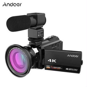 デジタルビデオカメラ レコーダー0.39XワイドアングルマクロレンズマイクロホンNovatek 96660 Andoer 4K 1080P 48MP WiFi