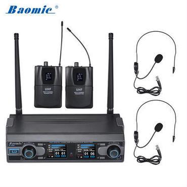 Baomic D-332 プロフェッショナルデュアルチャンネルUHFデジタルワイヤレスヘッドセットマイクシステム