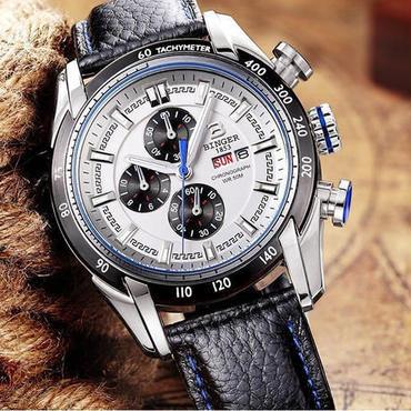 【送料無料】BINGER メンズ 腕時計 クロノグラフ 革 高級 デザイン 海外 人気 (07)