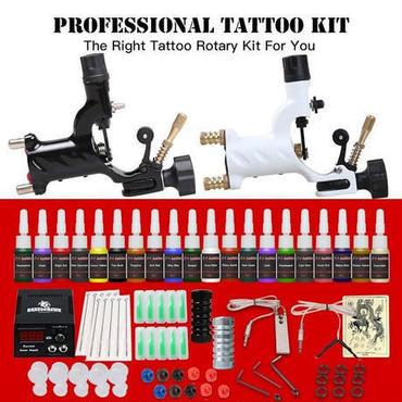 タトゥースターターキット 2 ロータリータトゥーマシンガン 20 インクセット 電源供給針 タトゥーインク 初心者