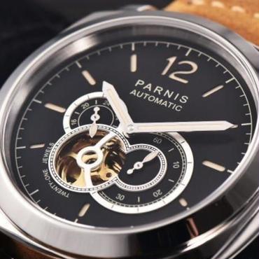 【パネライ好きな人へ】Paris 44mm 自動巻き 機械式腕時計 スケルトン 100m防水 サファイアクリスタル