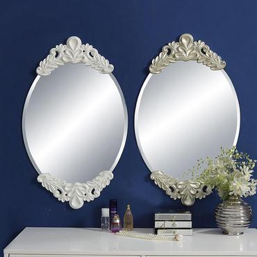 大型ウォールミラー 姫系インテリア ヨーロピアンデザイン 浴室 寝室 ドレッサー 鏡 ホワイト シルバー アンティーク風 ゴージャス ロココ 壁掛け