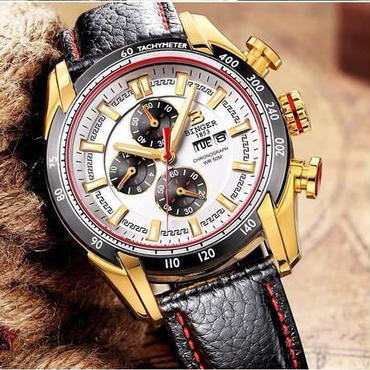 【送料無料】BINGER メンズ 腕時計 クロノグラフ 革 高級 デザイン 海外 人気 (06)