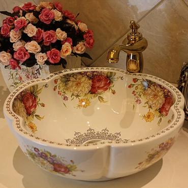 ヨーロピアンスタイル 花柄の華やかな洗面台 ローズ フラワー 花柄 白 蛇口&シンクセット ヨーロッパで大人気のシリーズ