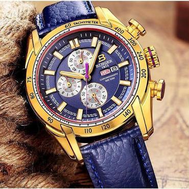 【送料無料】BINGER メンズ 腕時計 クロノグラフ 革 高級 デザイン 海外 人気 (08)