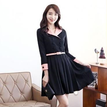 韓国ファッション /即納/バイカラーワンピース 上品お嬢様系