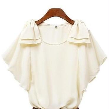 シフォン 肩 リボンつき半袖ブラウス 韓国ファッション