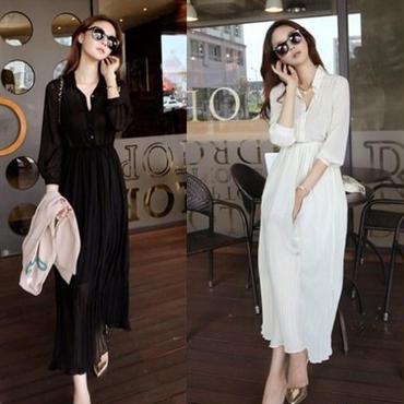 ボヘミア風 シフォン マキシワンピース 韓国ファッション