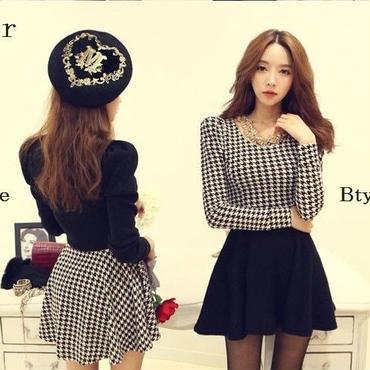 千鳥格子柄 切り替えチュチュワンピース 韓国ファッション