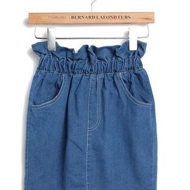 デニムスカート ハイウエストフリル 韓国ファッション