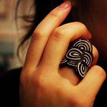 Seigaiha(Sea wave) Ring RING black lame