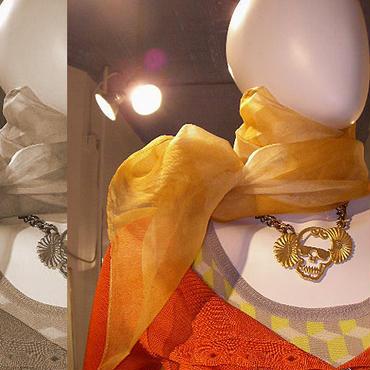 絞りシャインシルクスカーフ(イエローゴールド)