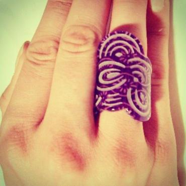 Seigaiha(Sea wave) Ring  Purple Tatewaku