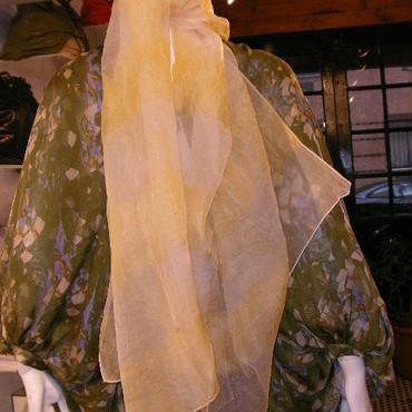 絞りシャインシルクスカーフ(ライトイエローゴールド)