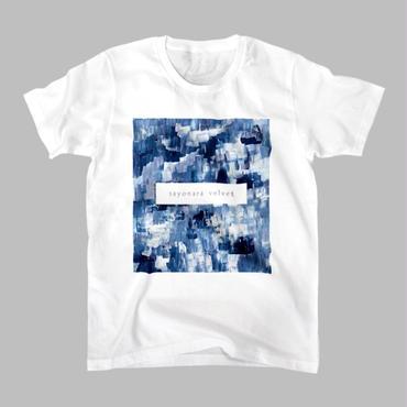 「巡る」Tシャツ / 藍 (white)