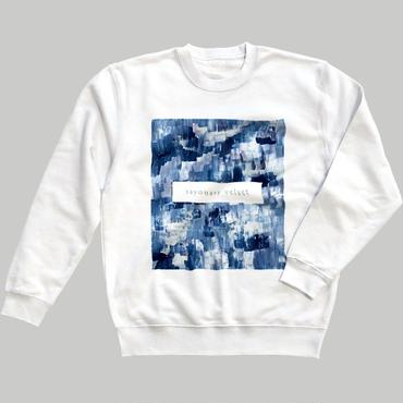 「巡る」スウェット / 藍 (white)
