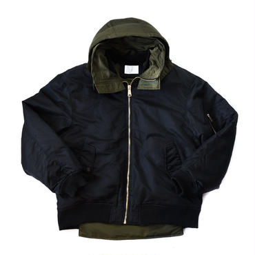 AMOUR ORIGINALS  HOODED MA-1 / BLACK_KHAKI