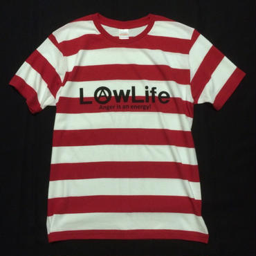 LowLife ボーダーTシャツ Red&White  M