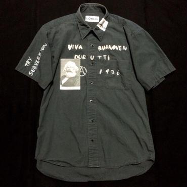 スローガンシャツ 半袖グレー系L