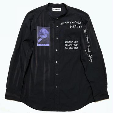 LowLifeスタンドカラーシャツ ネイビー ユニセックスL