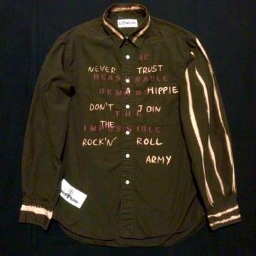 スローガンシャツ メンズM  ダークブラウン
