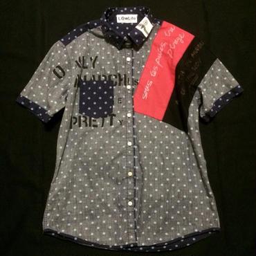 アナーキーシャツ(ドット) ネイビーL  半袖