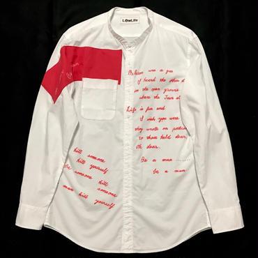 LowLifeスタンドカラーシャツ ホワイト ユニセックスM