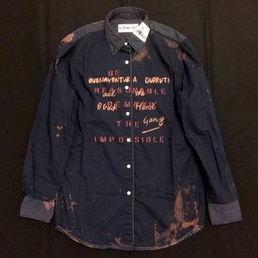 スローガンシャツ(ドット) ネイビーS 002