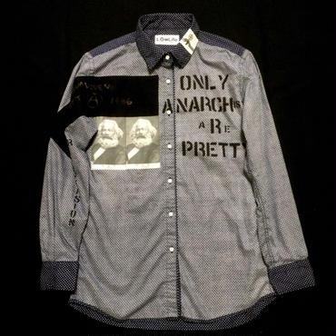 アナーキーシャツ(ドット) WネイビーL