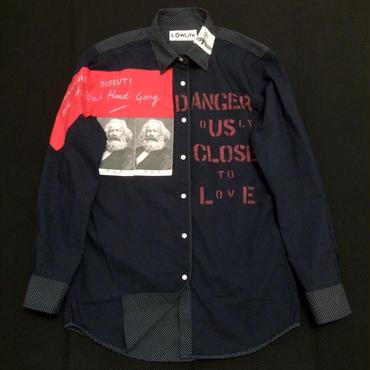 アナーキーシャツ(ドット) ネイビーM 002