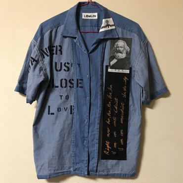 アナーキーシャツ半袖 メンズM インディゴブルー