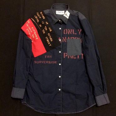 アナーキーシャツ(ドット) ネイビーL 002