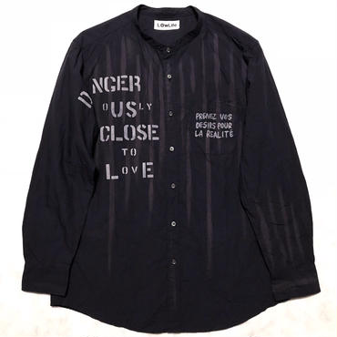 LowLifeスタンドカラーシャツ ネイビー ユニセックスXL