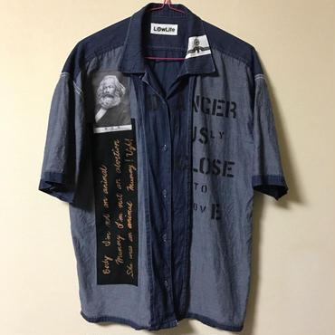 アナーキーシャツ半袖 メンズXL インディゴディープブルー