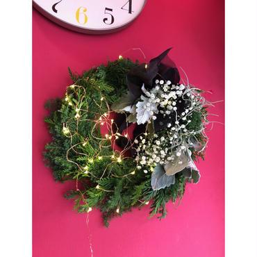 Christmas wreath クリスマスリース(WH)ライト付