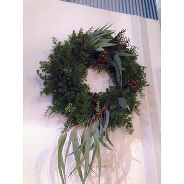 Christmas wreath エバーグリーンとユーカリのリース