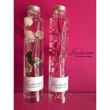 Herbarium(ハーバリウム)花の標本2本セット・ペッパーベリー×千日紅(BOX付)