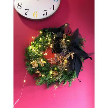 Christmas wreath クリスマスリース(PV)ライト付