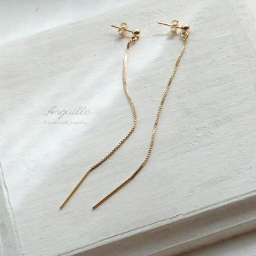 14kgf*Box Chain Long Earrings*