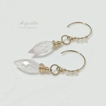14kgf*Rose Quartz & White Topaz Earrings*