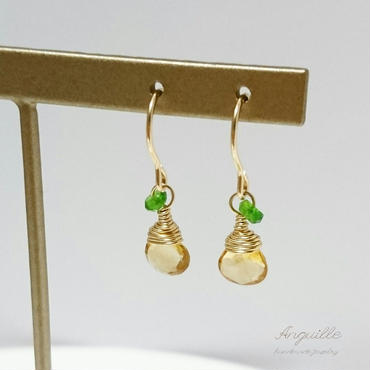 14kgf*One Point Earrings[Marron Cut Citrin & Chrome Diopside]*